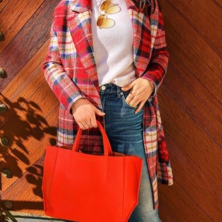 Sideways Tote / POPPY RED BUFFALO