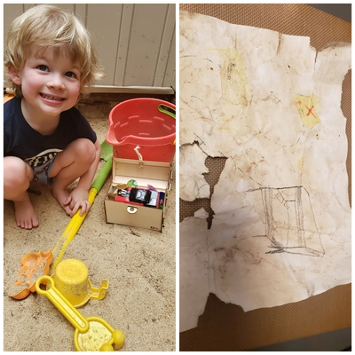 Ari's treasure map that lead him to treasure in the sand pit!