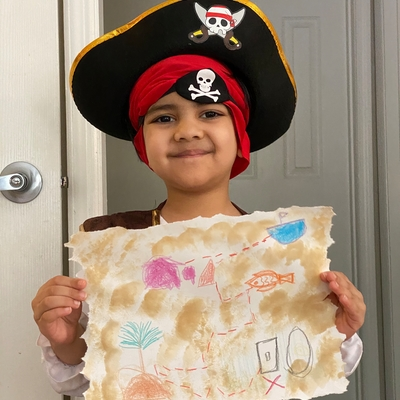 Ahaan with his treasure map.
