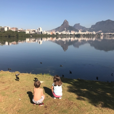 Maya and her brother enjoying nature this morning at one of their favorite places - the lagoon in Rio.
