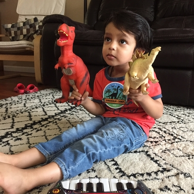 REYANSH with his favorite dinosaurs