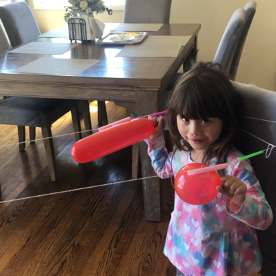 Sophia's balloon rocket competition