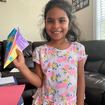 Shanaya made a paper airplane
