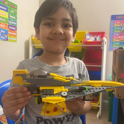 For today's Show & Tell class, Ahaan wants to show his Lego Star Wars spaceship, that he built with his dad.