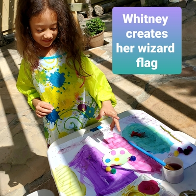 Whitney creates her flag.