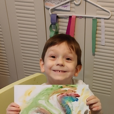 Kael's rainbow dragon water color painting with salt