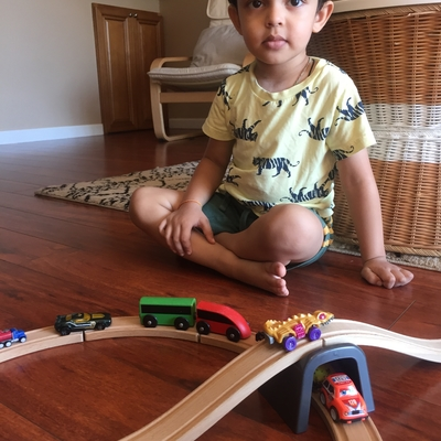 Reyansh with his Ramp made from tracks 😊