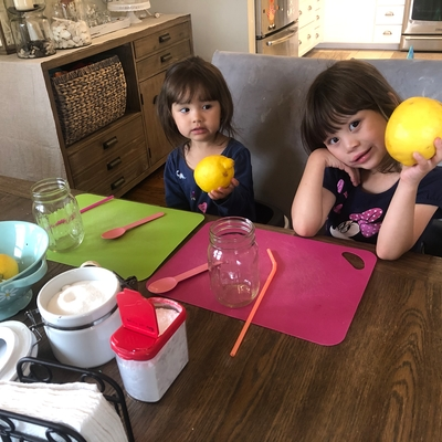Sophia & Olivia getting ready to make fizzy lemonade