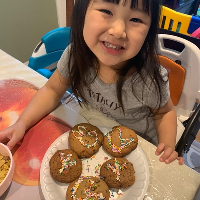 Averie and her yummy fossil cookies!