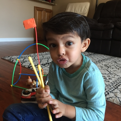 Reyansh having fun jamming with Mr David & his rhythm sticks