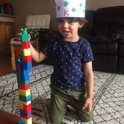 King Reyansh with his block castle