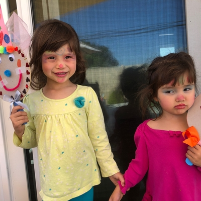 Sophia & Olivia love to clowning around.