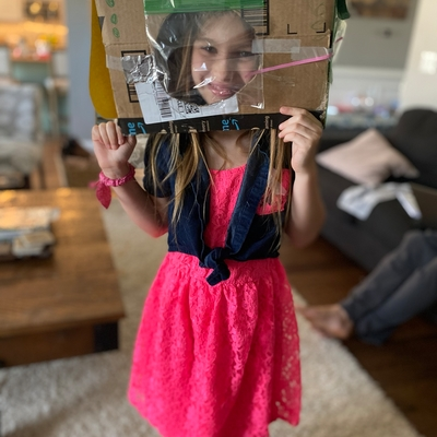 Charlotte, with her space helmet!