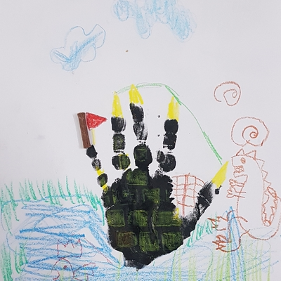 Hand Print Castle made by Ananya