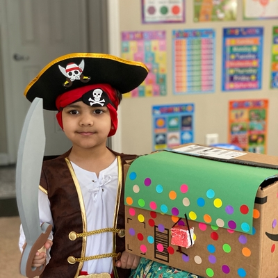Ahaan with his treasure chest.