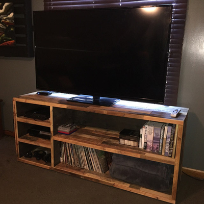 Reclaimed Wood Record Media Music Console