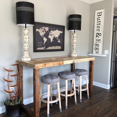 Reclaimed Wood Community Bar Restaurant High Top Table in Natural