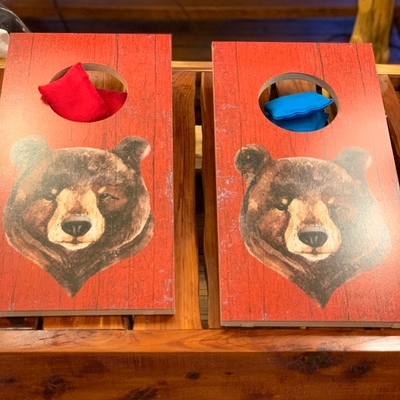 Tabletop Bear Corn Hole Game, Hand Painted