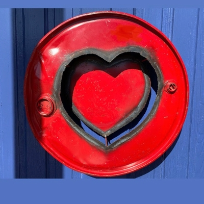 Repurposed Steel Drum Wall Decor Red Heart Love